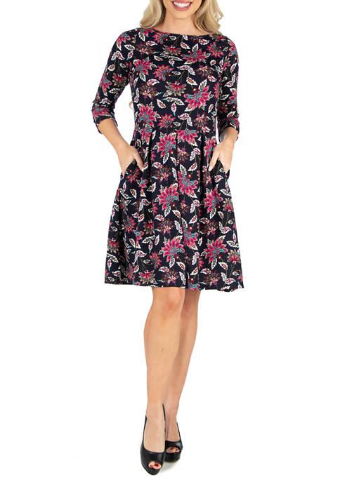 24seven Comfort Apparel Womens Floral Print Knee Length
