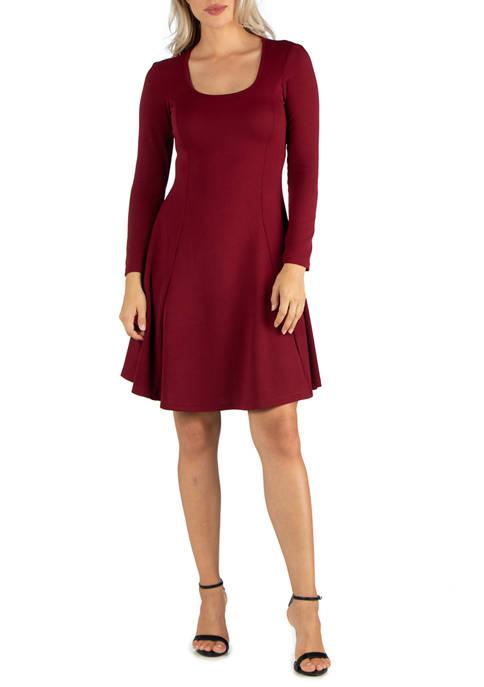 24seven Comfort Apparel Womens Simple Long Sleeve Knee