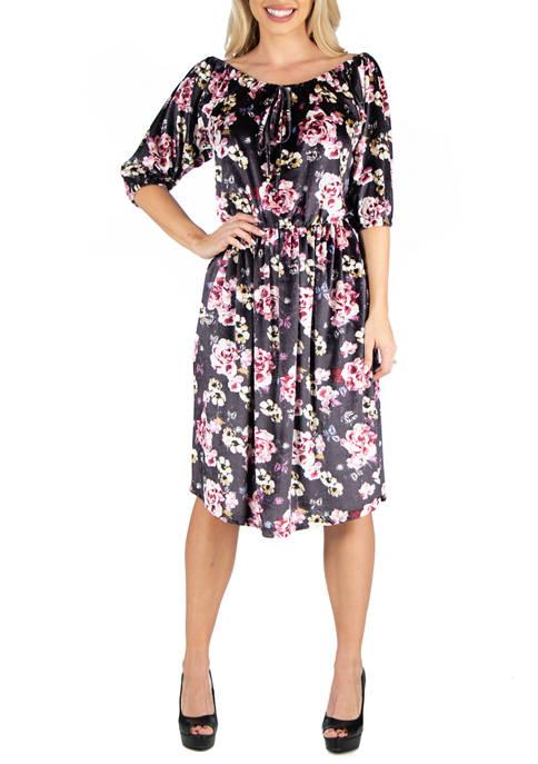 24seven Comfort Apparel Womens Floral Off Shoulder Knee