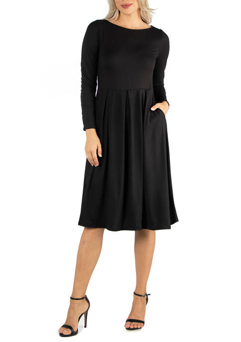 24seven Comfort Apparel Womens Midi Length Fit N