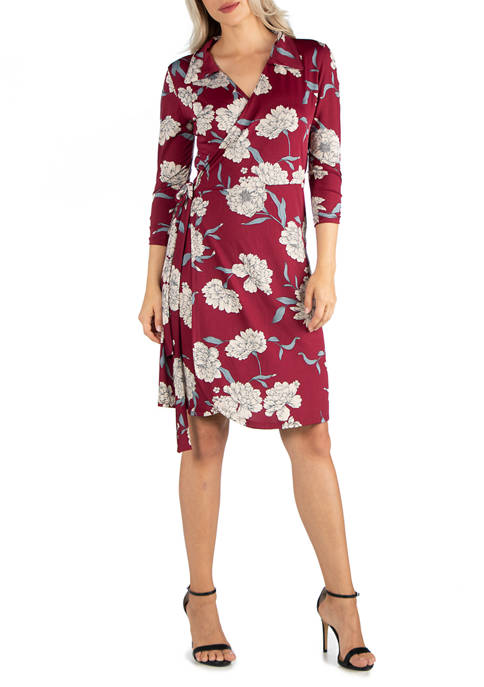 24seven Comfort Apparel Womens Collared Burgundy Floral Print