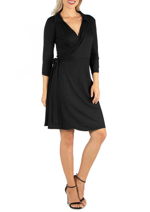 Womens Knee Length Collared Wrap Dress