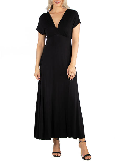24seven Comfort Apparel Womens Cap Sleeve V Neck