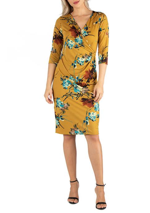 24seven Comfort Apparel Womens Yellow Print 3/4 Sleeve