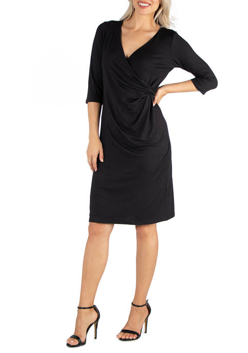 24seven Comfort Apparel Womens 3/4 Sleeve Knee Length
