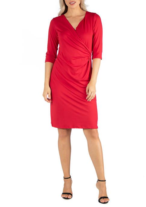 Womens 3/4 Sleeve Knee Length Wrap Dress