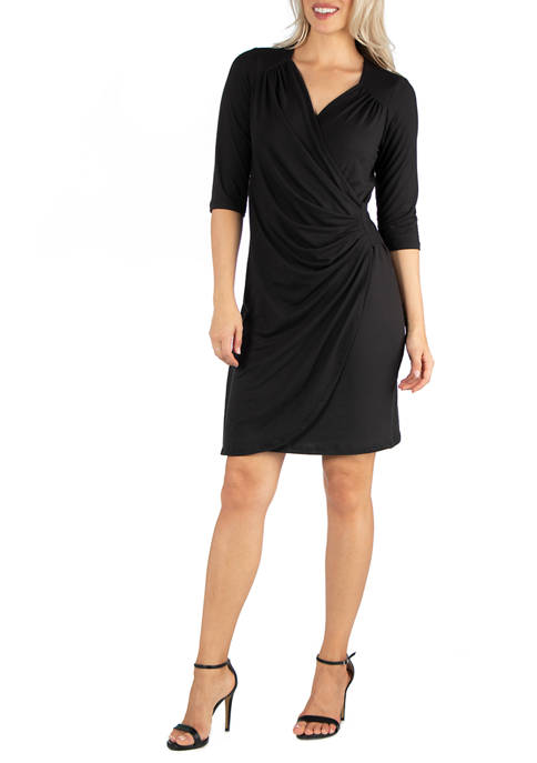 24seven Comfort Apparel Womens Elbow Sleeve Little Black
