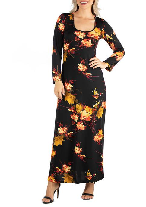 Womens Floral Print Long Sleeve T-Shirt Maxi Dress