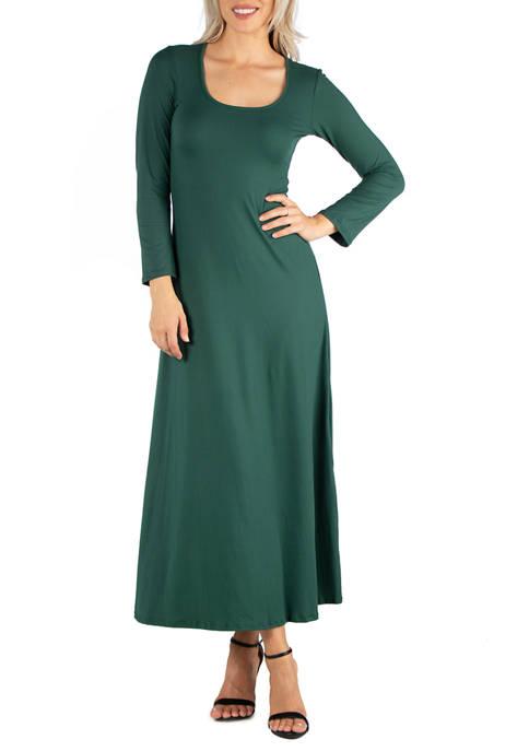 24seven Comfort Apparel Womens Long Sleeve T-Shirt Maxi