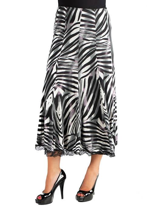 24seven Comfort Apparel Womens Midi Length Zebra Print