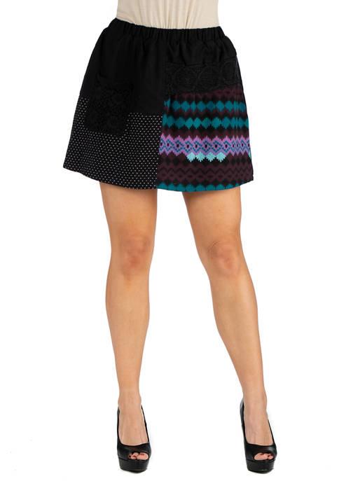 24seven Comfort Apparel Womens Elastic Waist Black Pocket