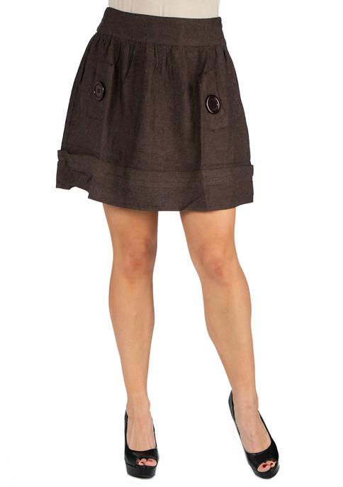 24seven Comfort Apparel Womens Button Detail Mini Skirt