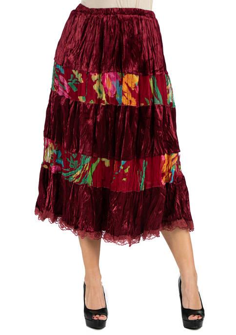 24seven Comfort Apparel Womens Velvet Midi Skirt
