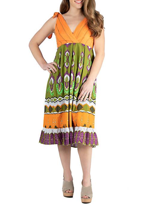24seven Comfort Apparel Midi Summer Dress