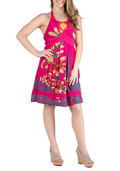 Knee Length Floral Halter Dress