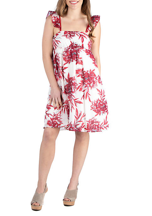 24seven Comfort Apparel Red Sleeveless Cotton Summer Dress