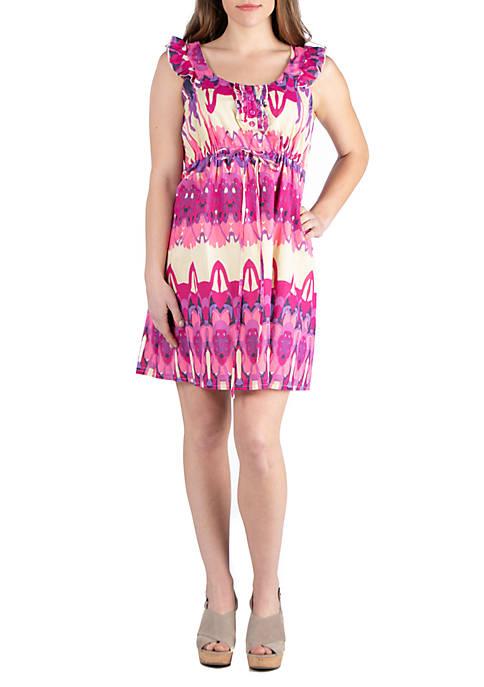 Ruffle Sleeve Pink Mini Dress