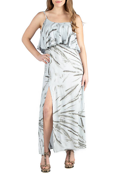 Ruffle Top Summer Maxi Dress With Side Slit