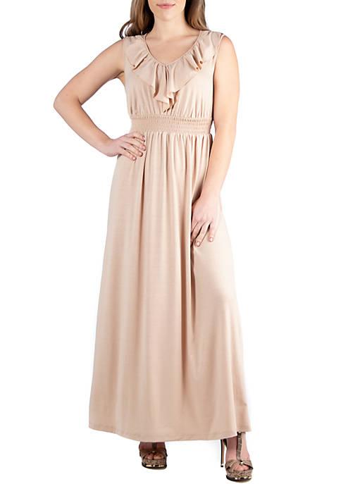 Empire Waist Ruffle Maxi Dress