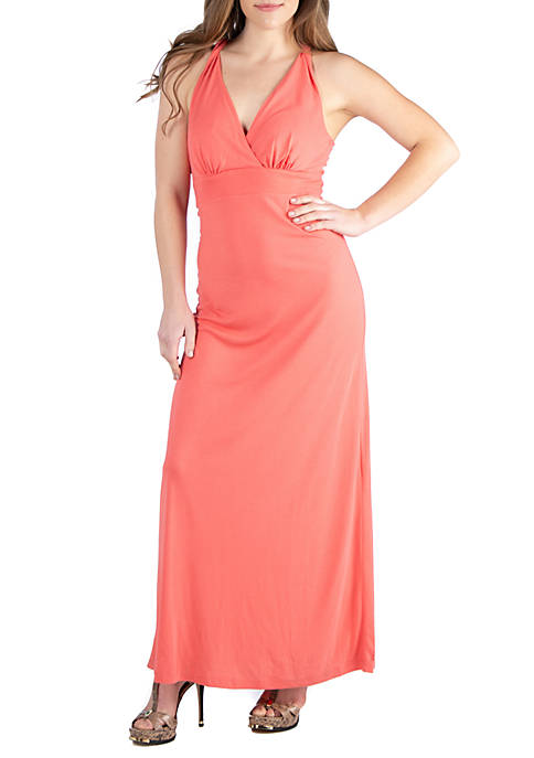 24seven Comfort Apparel Coral Backless Halter Maxi Dress