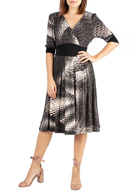 3/4 Sleeves Modern Print A Line Dress