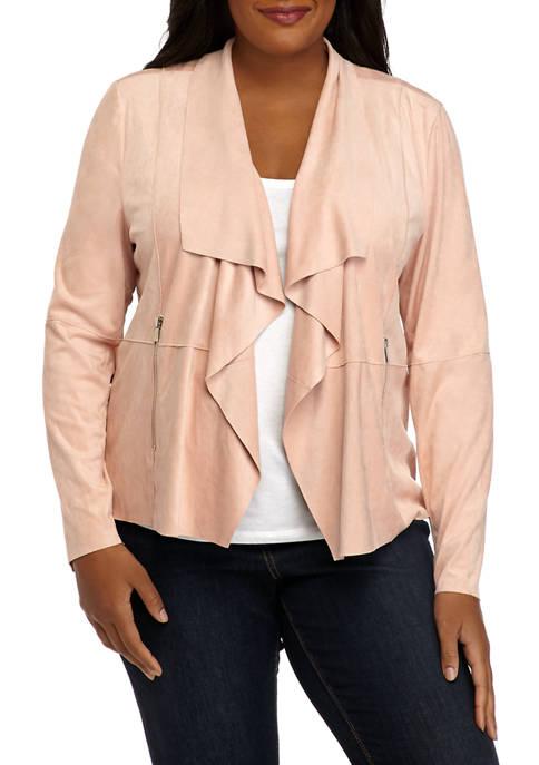 Plus Size Faux Suede Open Drape Jacket