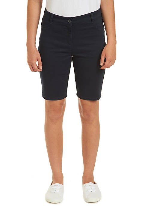 Nautica Uniforms Juniors Sateen Bermuda Shorts