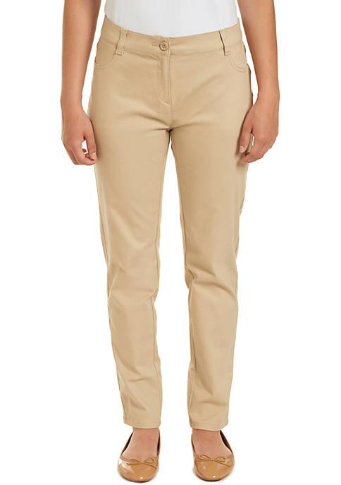 Nautica Uniforms Juniors Sateen Skinny Pants