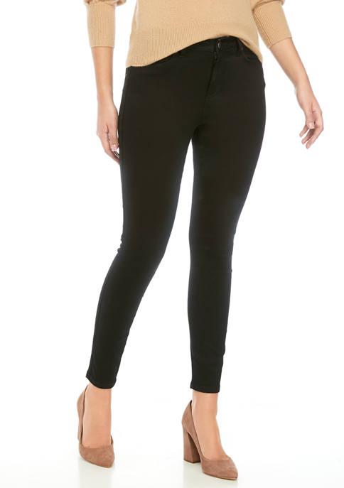 Womens Mid Rise Black Skinny Jeans