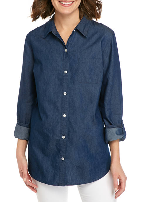 Kim Rogers® Womens 3/4 Sleeve Woven Chambray Shirt