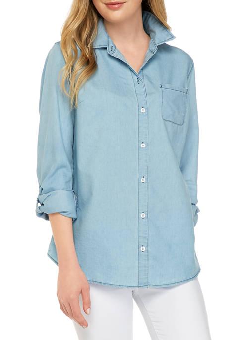 Kim Rogers® Womens 3/4 Sleeve Woven Chambray Shirt