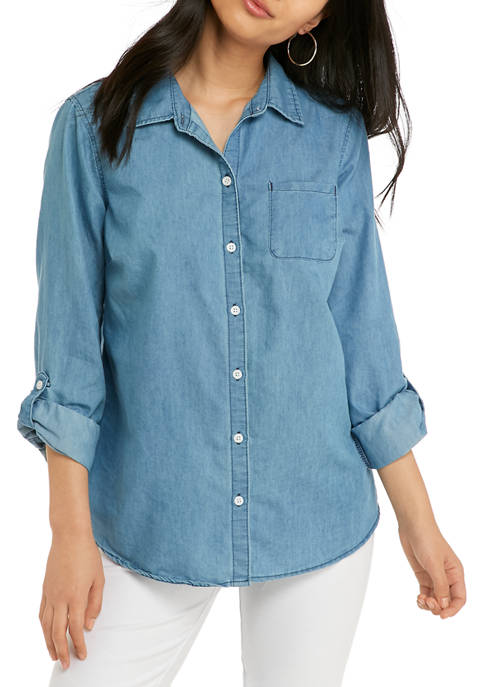 Kim Rogers® Petite 3/4 Sleeve Essential Woven Chambray