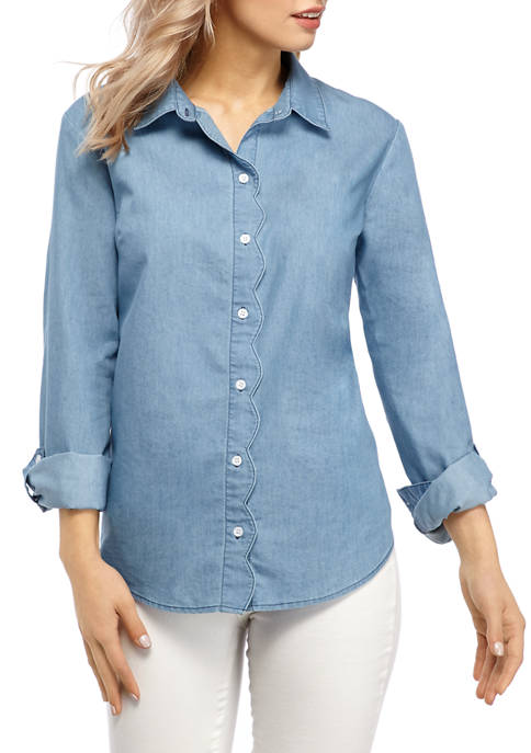 Kim Rogers® Petite 3/4 Sleeve Scallop Button Up