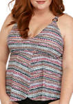 Plus Size Basket Weave Stripe Flyaway Tankini Swim Top
