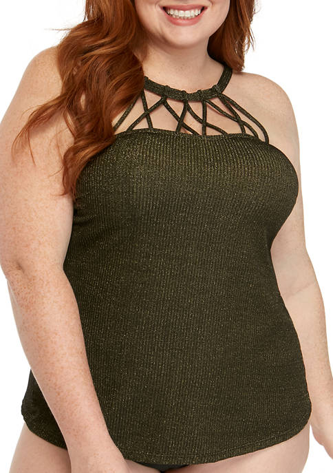 New Directions® Plus Size High Neck Cage Front