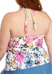 Plus Size Sunset Garden Ruffle Halter Tankini Swim Top