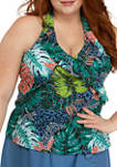 Plus Size Tropic Rhythm Ruffle Halter Tankini Swim Top