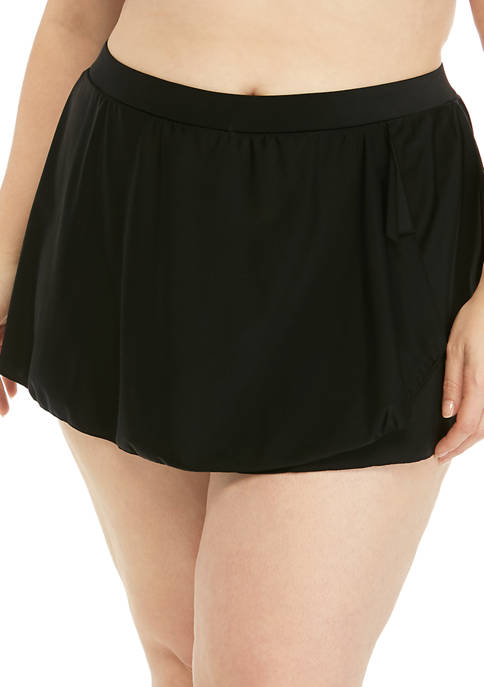 Plus Size Solid Ruffle Swim Skirt