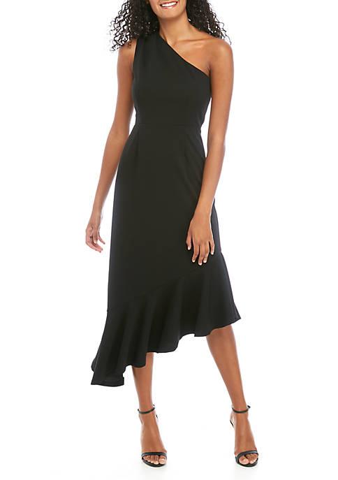 Womens One Shoulder Asymmetrical Hem Dress