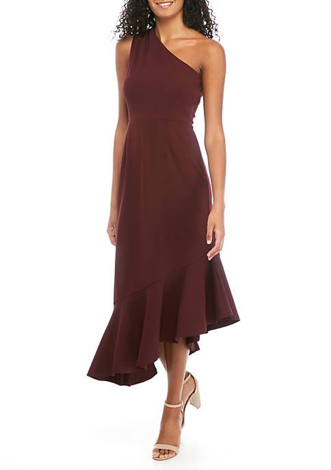 One Shoulder Asymmetric Hem Dress
