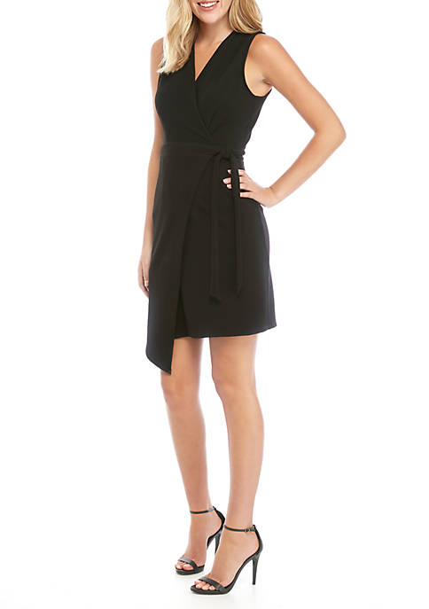 Sleeveless Textured Scuba Wrap Dress