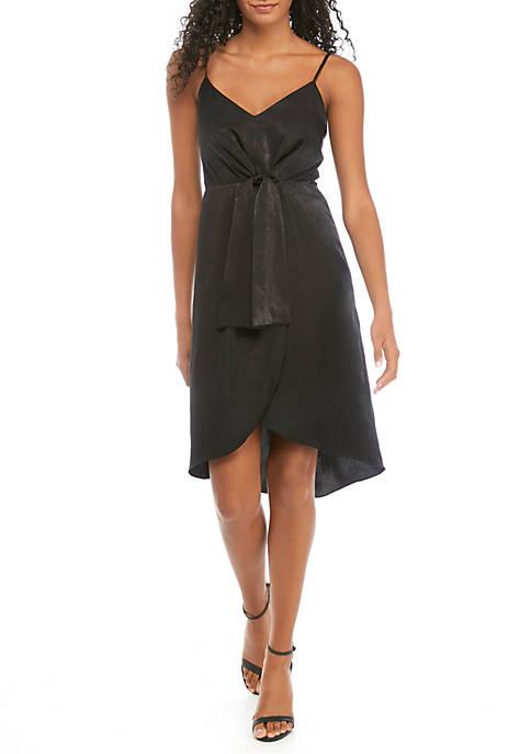 Faux Wrap Drape Dress