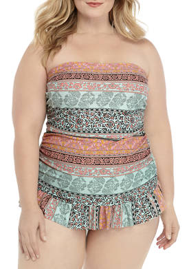 Plus Size Tahitian Treasure Bandeau Swim Dress