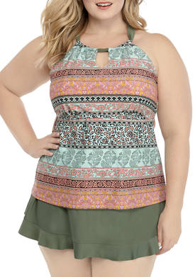 Plus Size Tahitian Treasure High Neck Tankini Swim Top