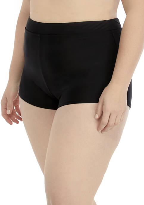 Plus Size Solid Swim Shorts
