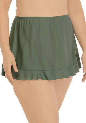 Plus Size Solid Ruffle Swim Skirt