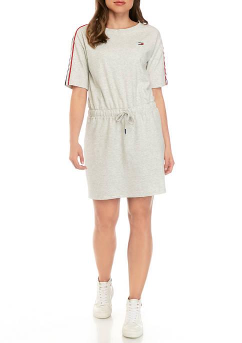 Elbow Sleeve Round Neck Dress