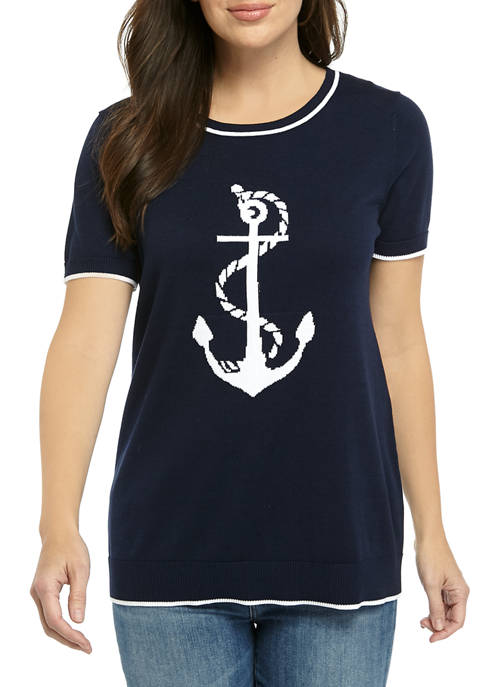 Kim Rogers® Womens Short Sleeve Intartsia Placement Anchor