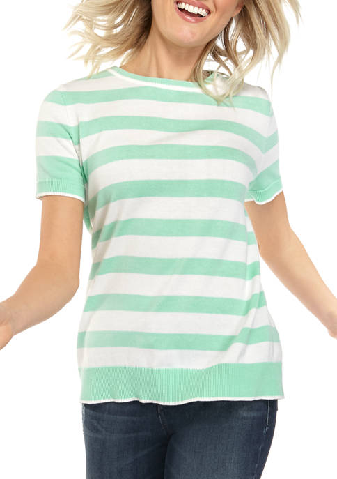 Petite Short Sleeve Striped Intarsia Top