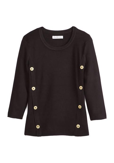 Kim Rogers® Petite Button Sweater